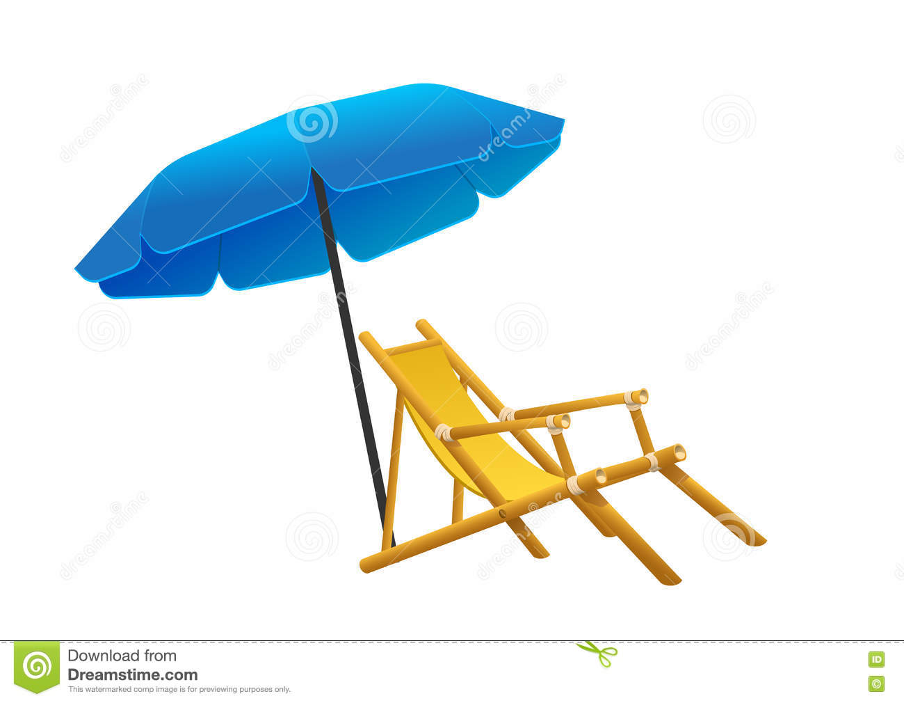Beach chair and parasol vector illustration stock vector image - Vector Sunbeds Parasol Depicted In The Style Of Flat Stock