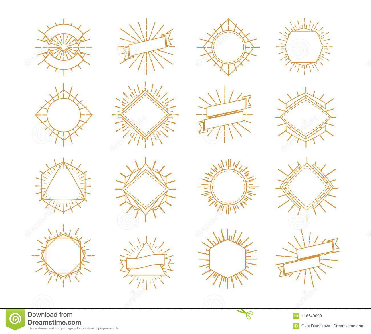 Vector Sunburst Frame Set Gold Style Isolated On White Background ...