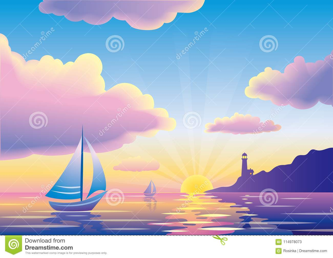 Vector sunset or sunrise seascape with sailboat and lighthouse