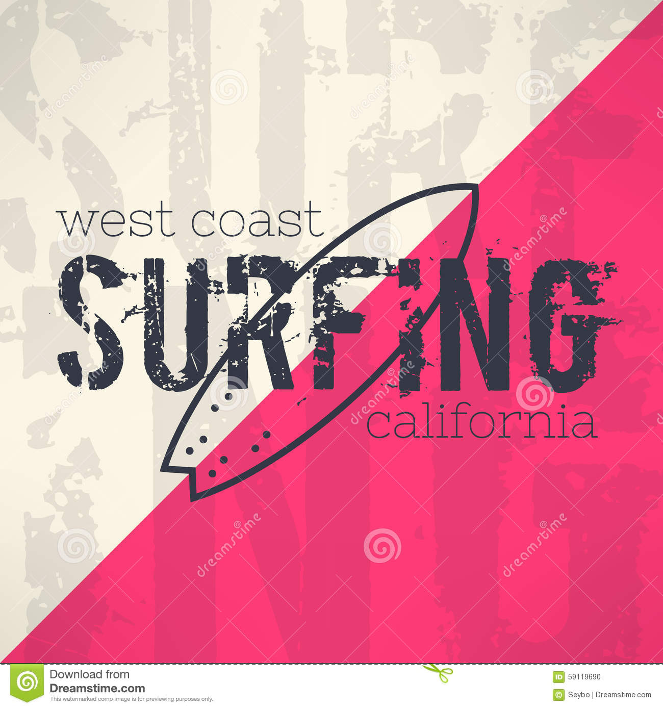 Vector surf typography in grunge design stock vector for T shirt printing business proposal letter