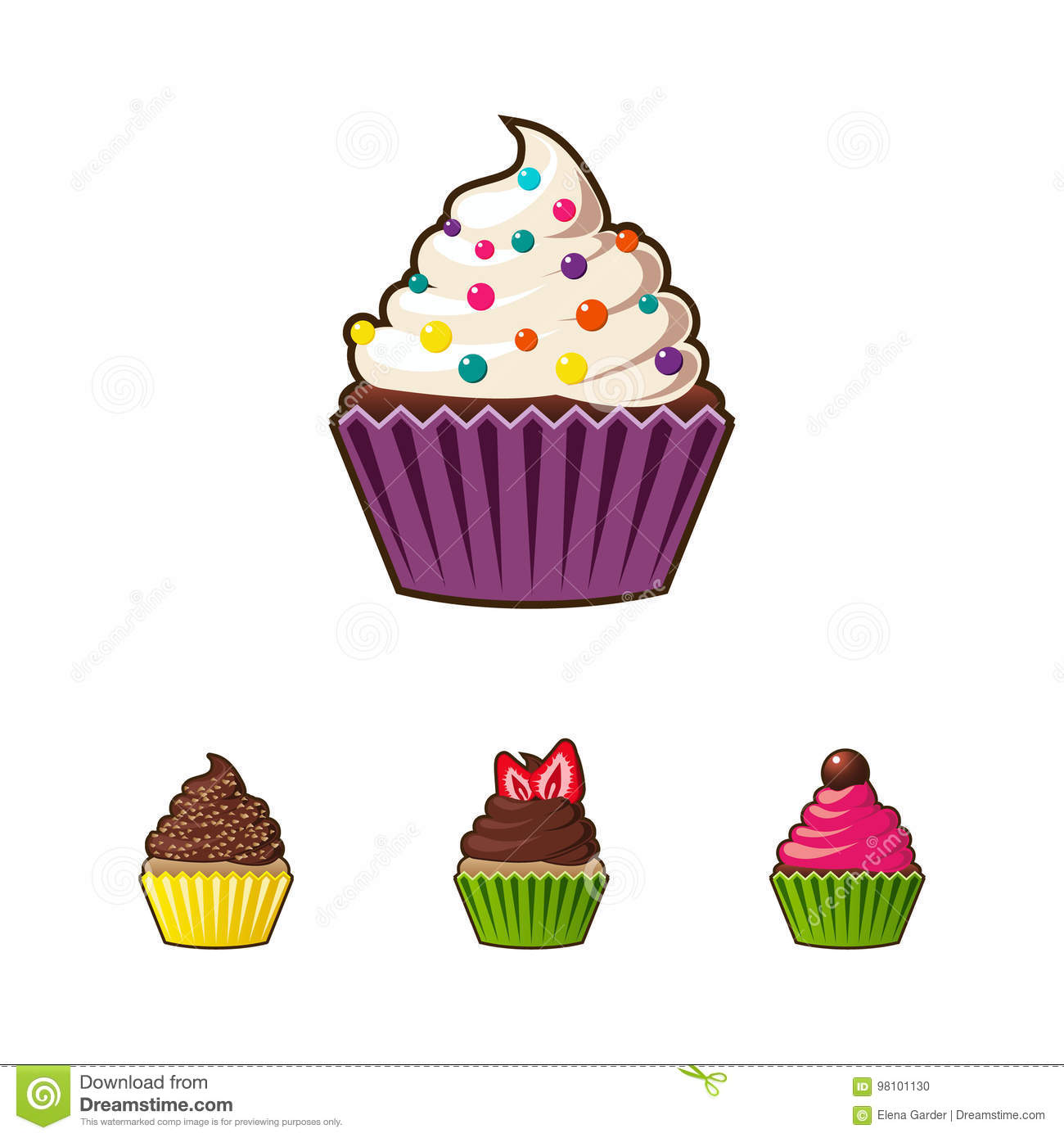 vector cupcakes or muffins icon colorful dessert with cream