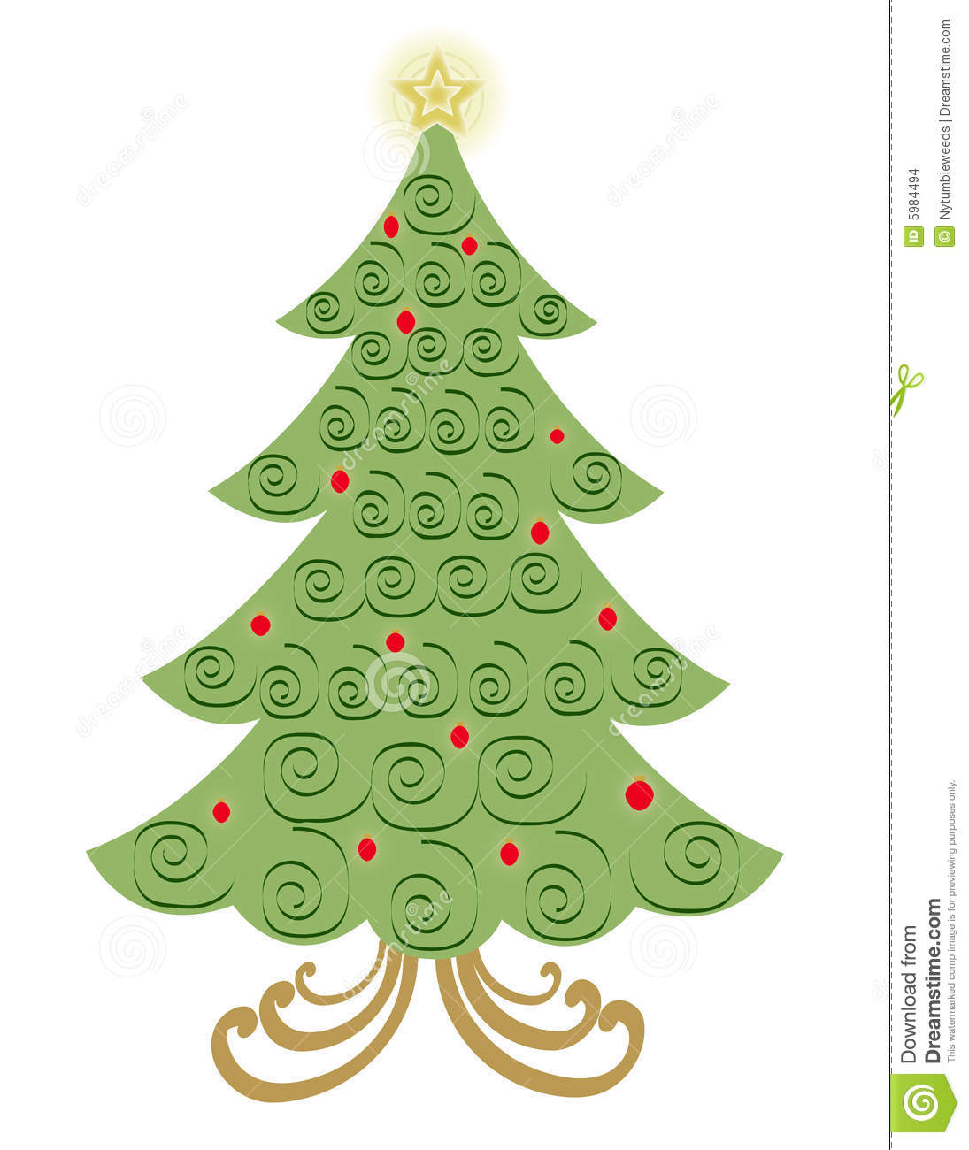 Vector Swirl Christmas Tree Stock Images
