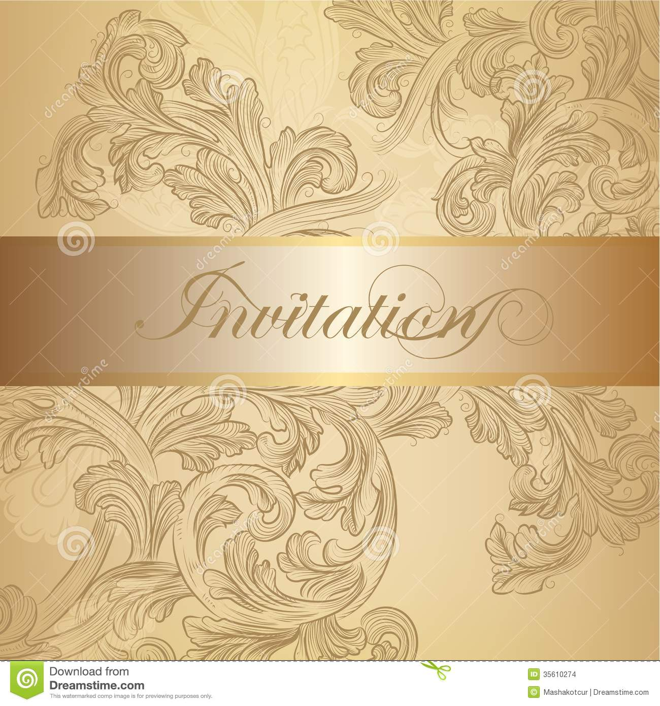 Vector Swirl Invitation Card In Golden Color Stock Images ...
