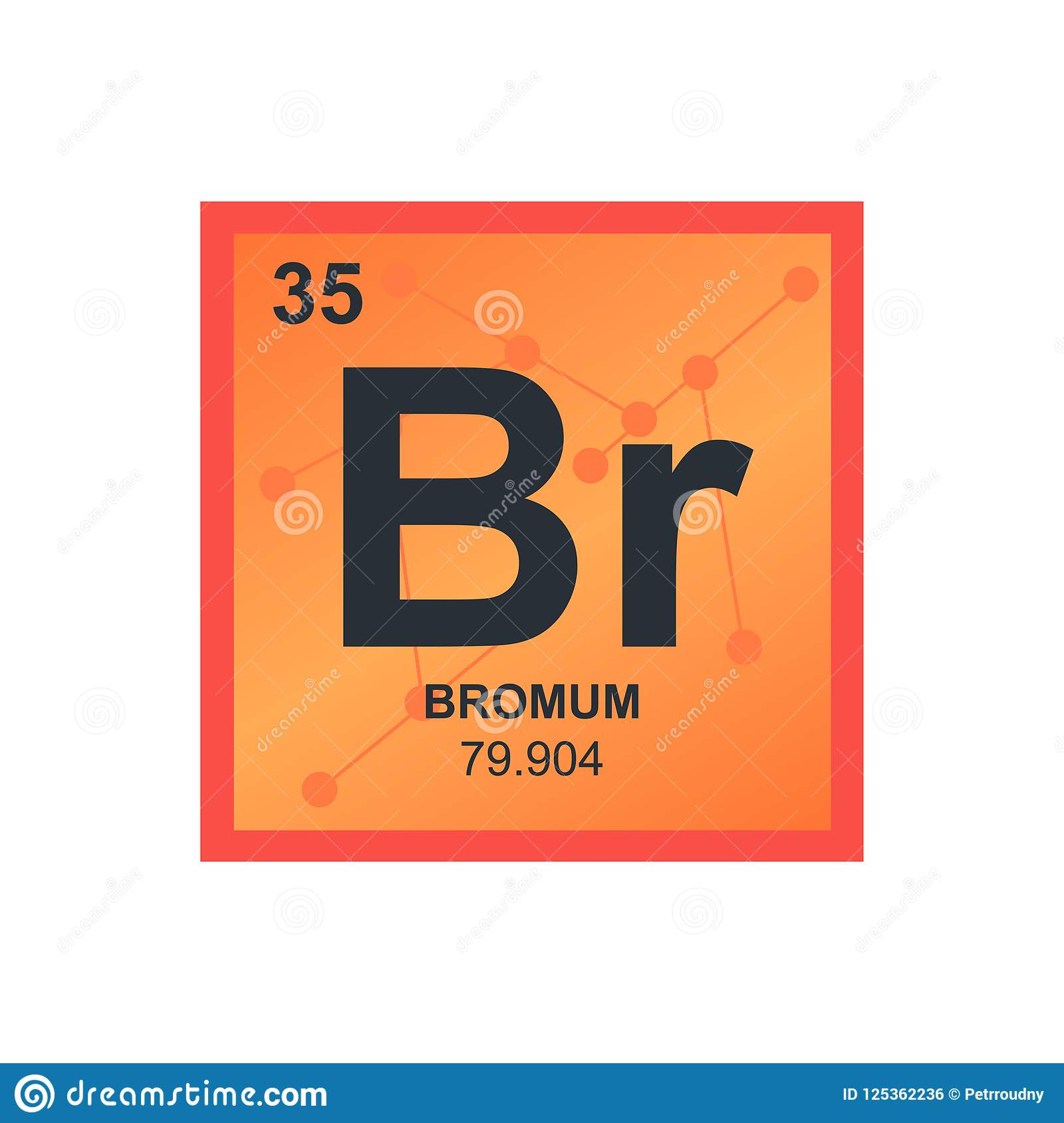 vector symbol of bromine on the background from connected molecules
