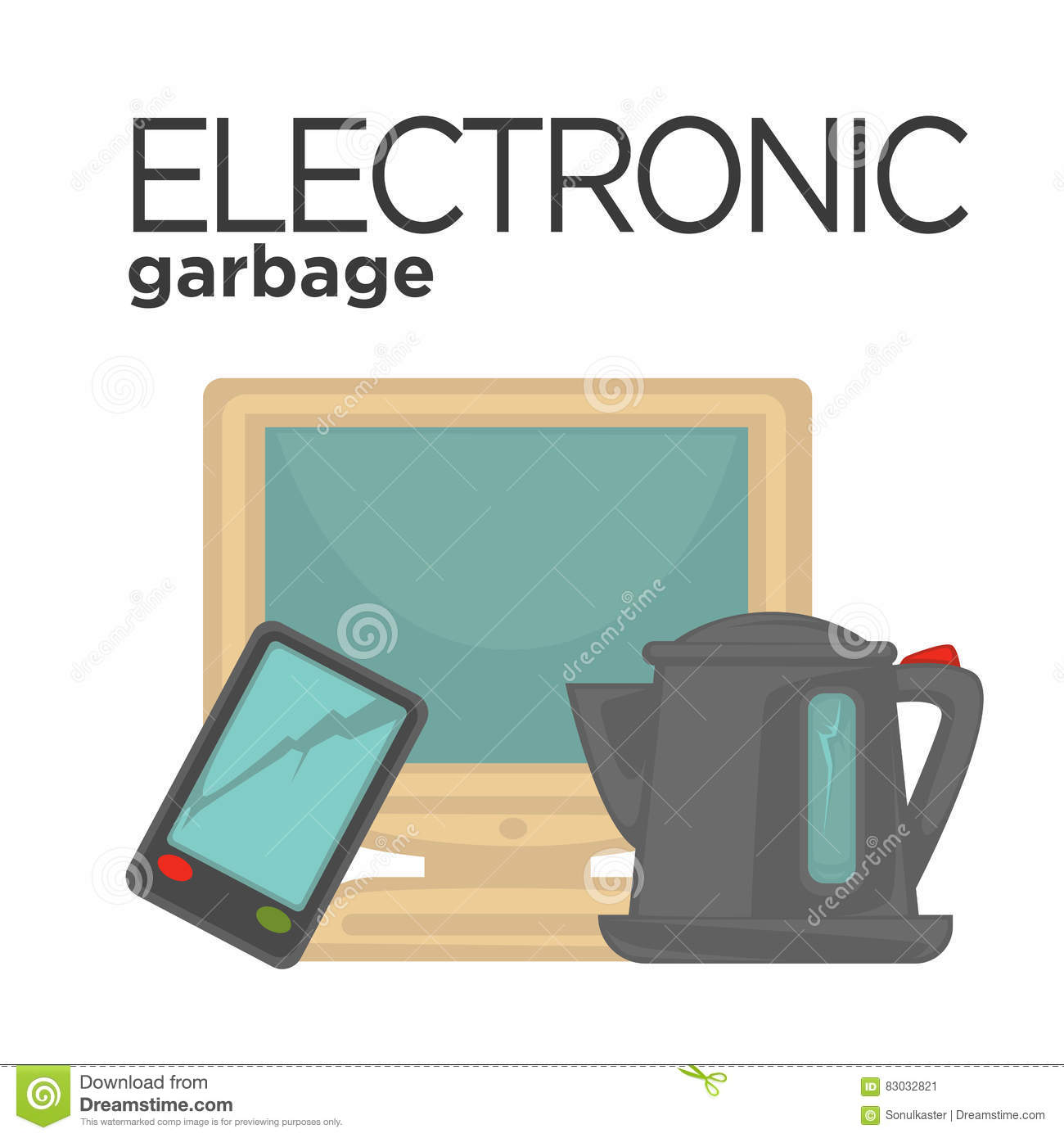 Vector E Sanitary Service : Vector symbol of electronic waste stock image
