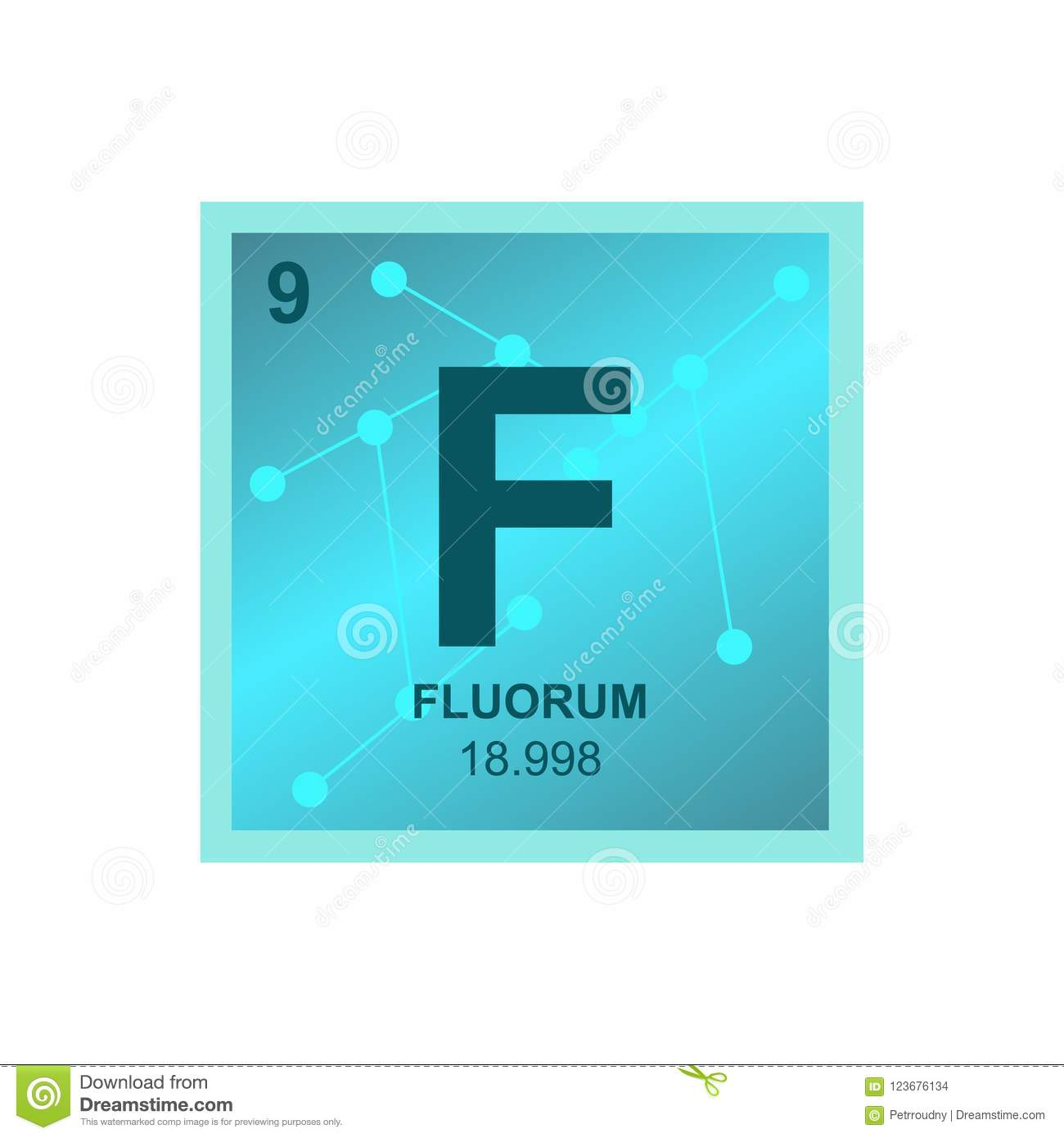Vector Symbol Of Fluorine On The Background From Connected Molecules