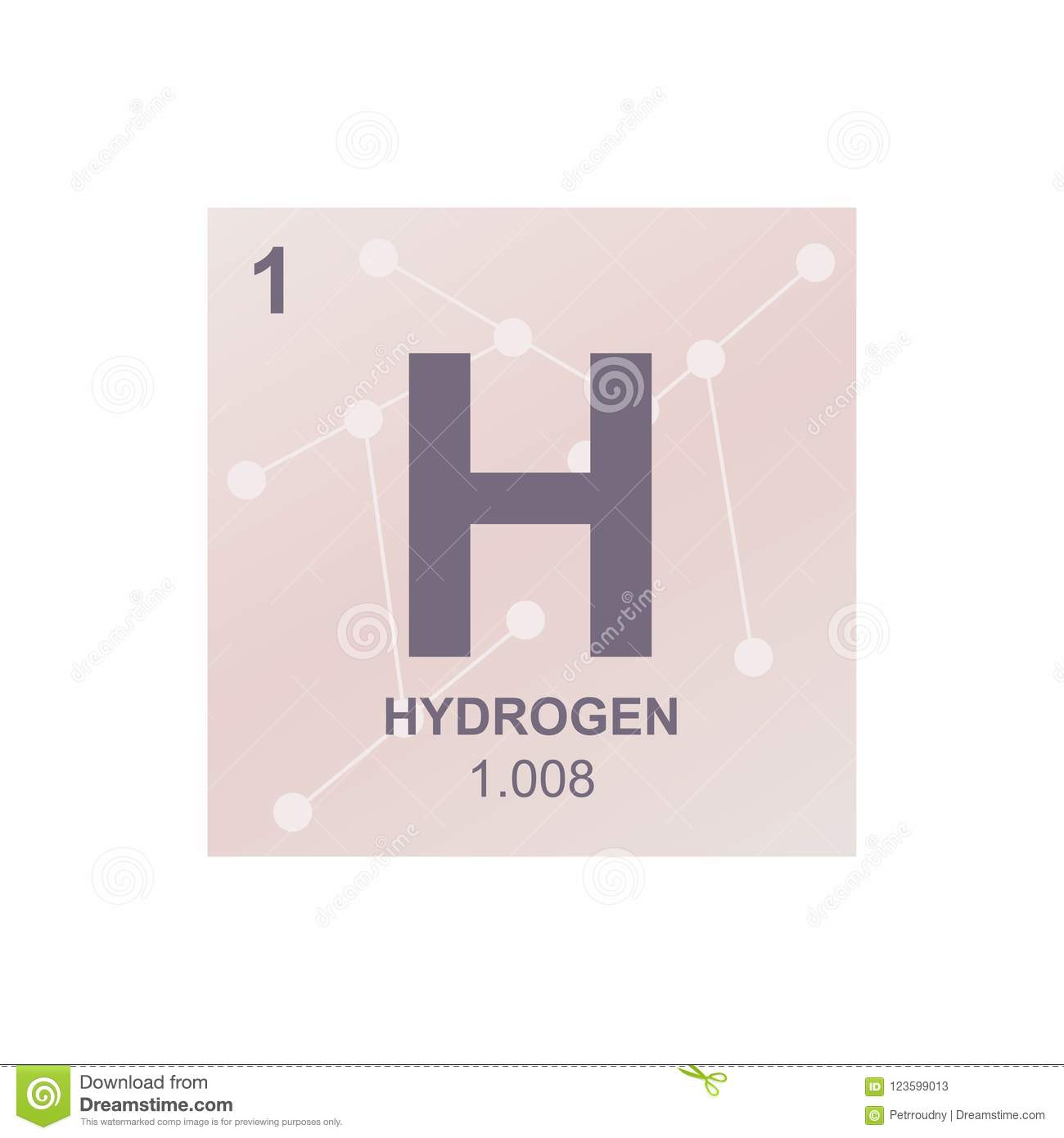 Vector Symbol Of Hydrogen On The Background From Connected Molecules