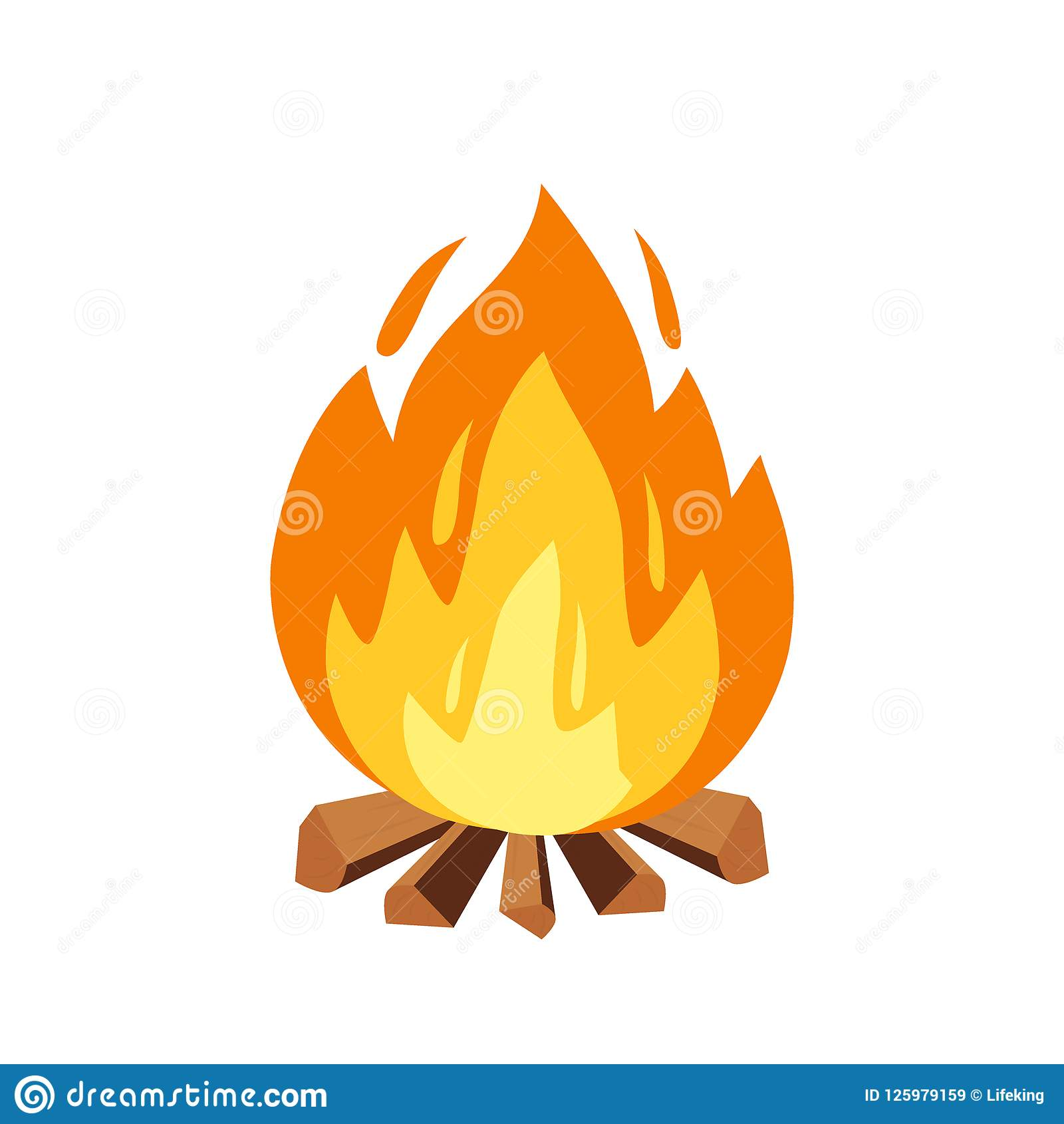 Vector campfire and camping sign in cartoon style illustration. Burning  wood pile a5aa7281d649