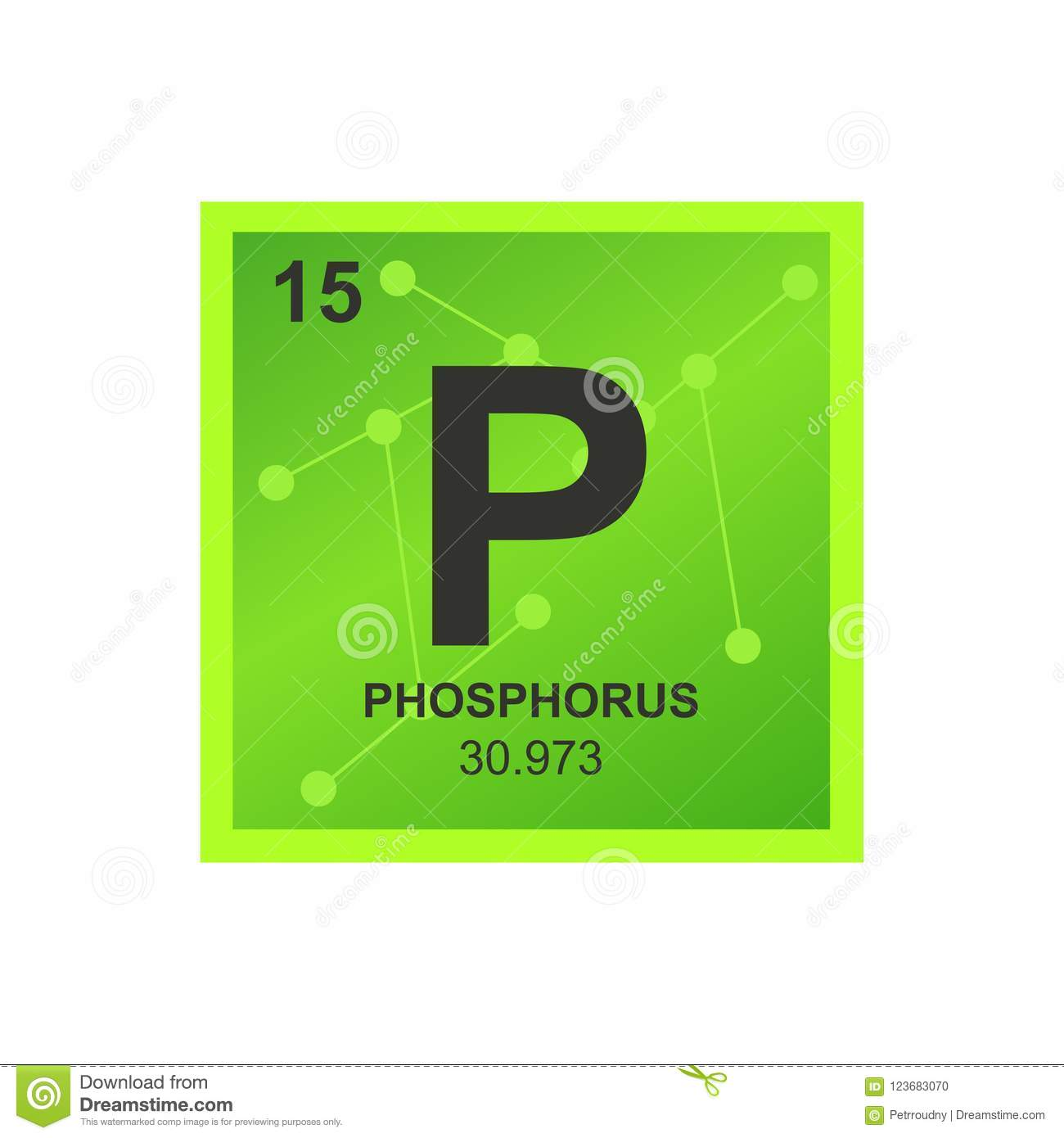 Vector Symbol Of Phosphorus On The Background From Connected