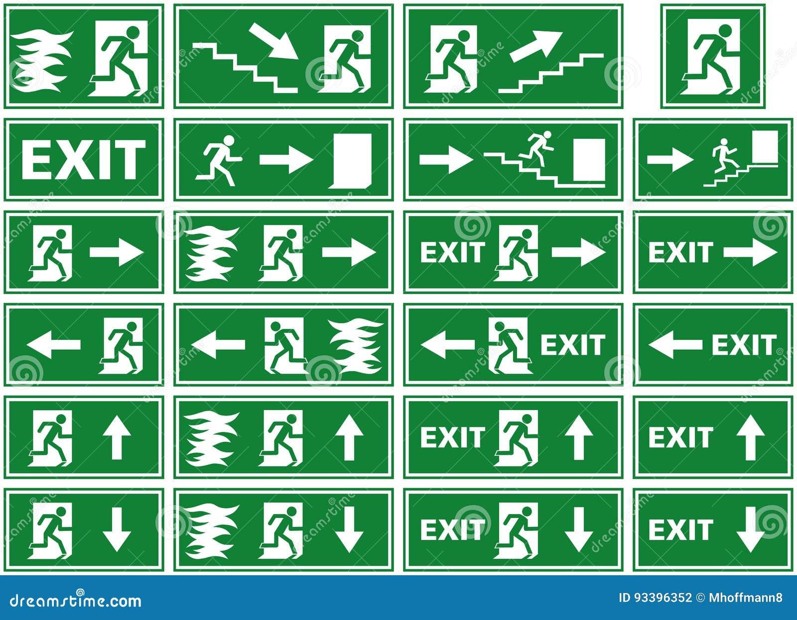 Vector symbol set emergency exit sign fire alarm plate person vector symbol set emergency exit sign fire alarm plate person escaping flames through door buycottarizona Images