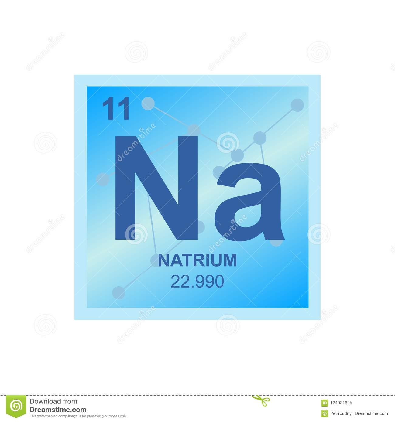 Vector Symbol Of Sodium On The Background From Connected Molecules