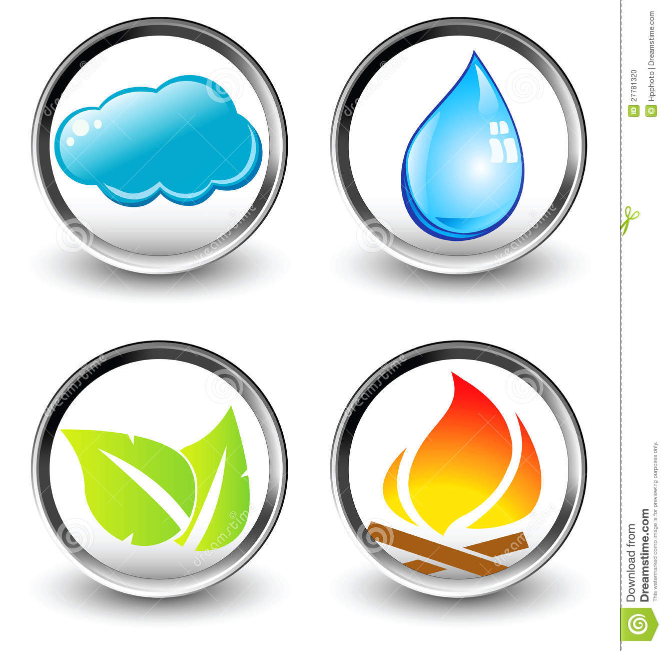 Vector Symbols Of Four Elements Of Nature Stock Vector