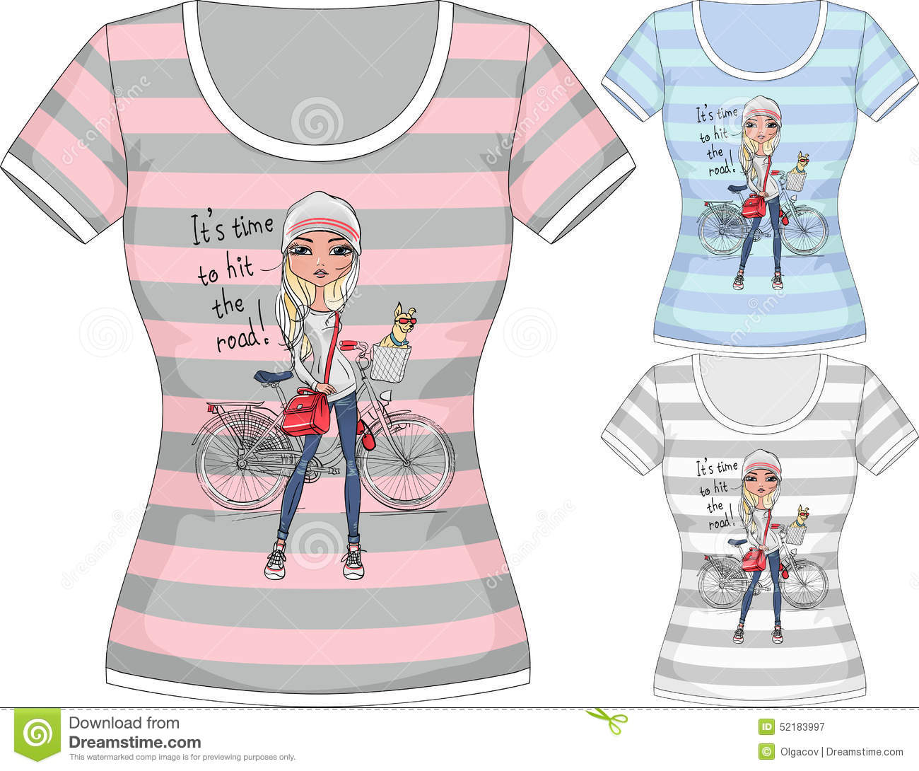 Vector T Shirt With Fashion Girl And Bike Stock Vector