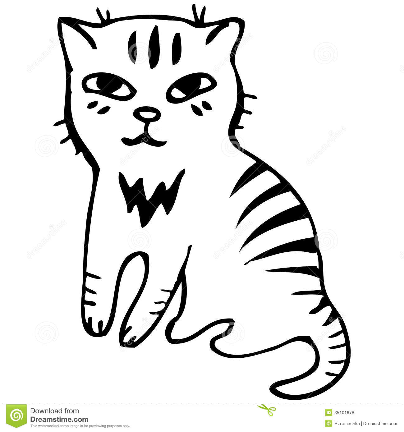 vector tabby cat black outline sketch royalty free stock photos