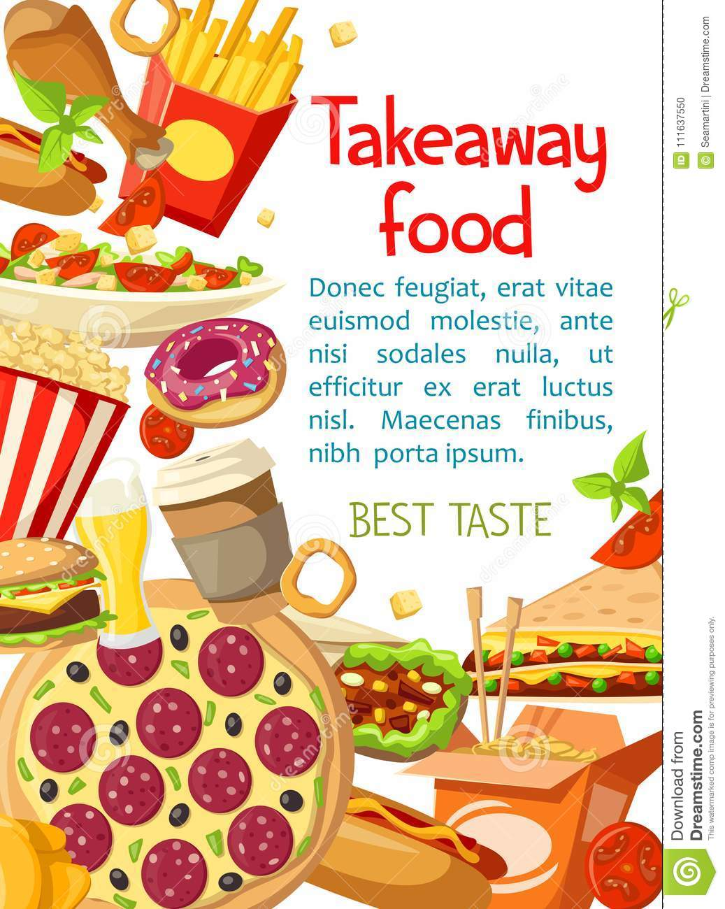 Vector Takeaway Fastfood Meals Poster Stock Vector Illustration Of Fries Menu 111637550