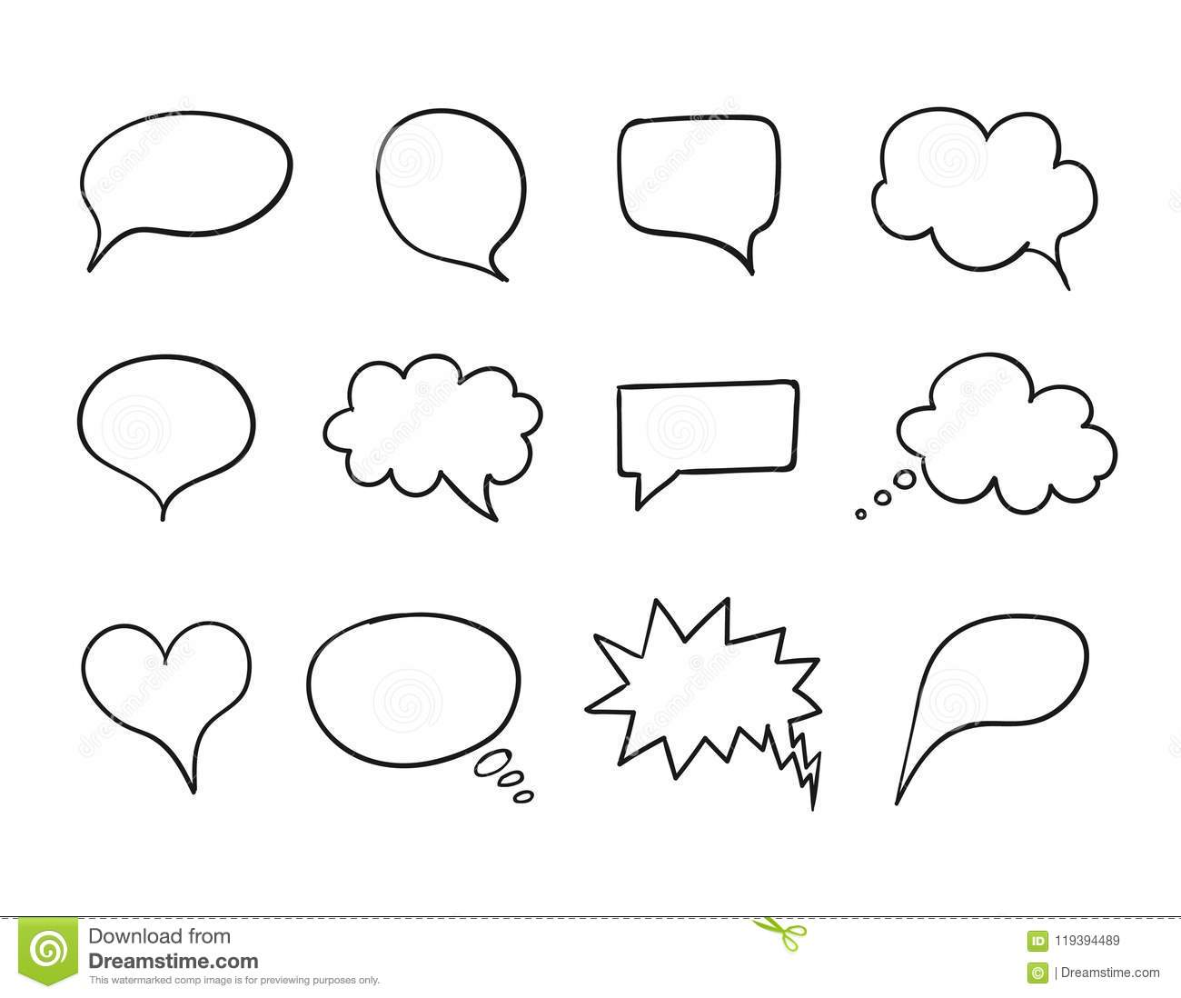 vector talk bubble set speech box collection hand drawn design