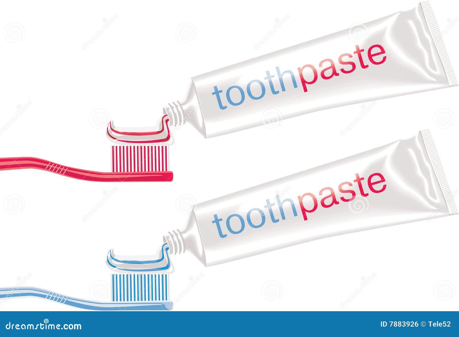 Vector tandborstels met tandpasta