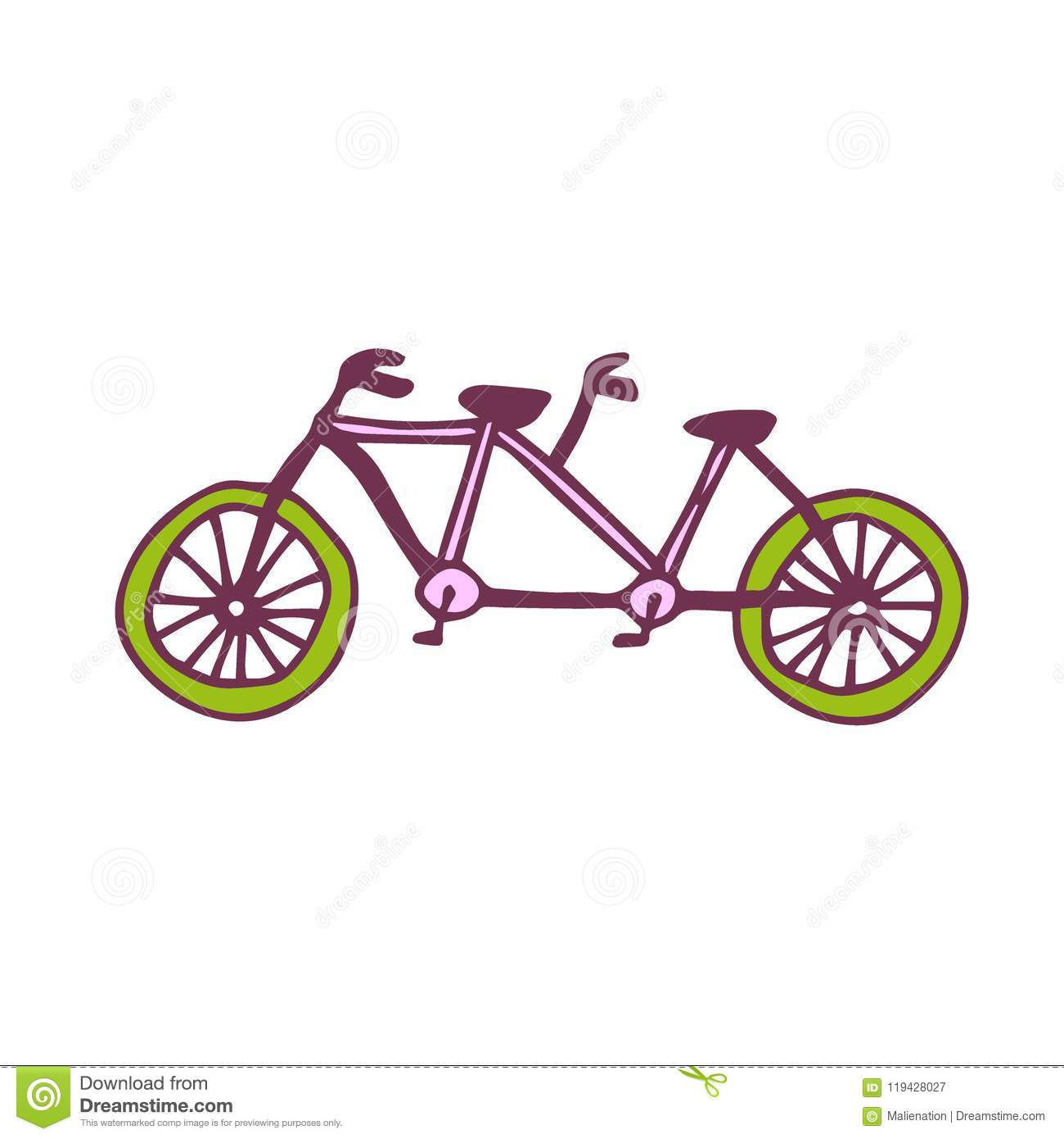Vector tandem bike icon travel printed art sticker design