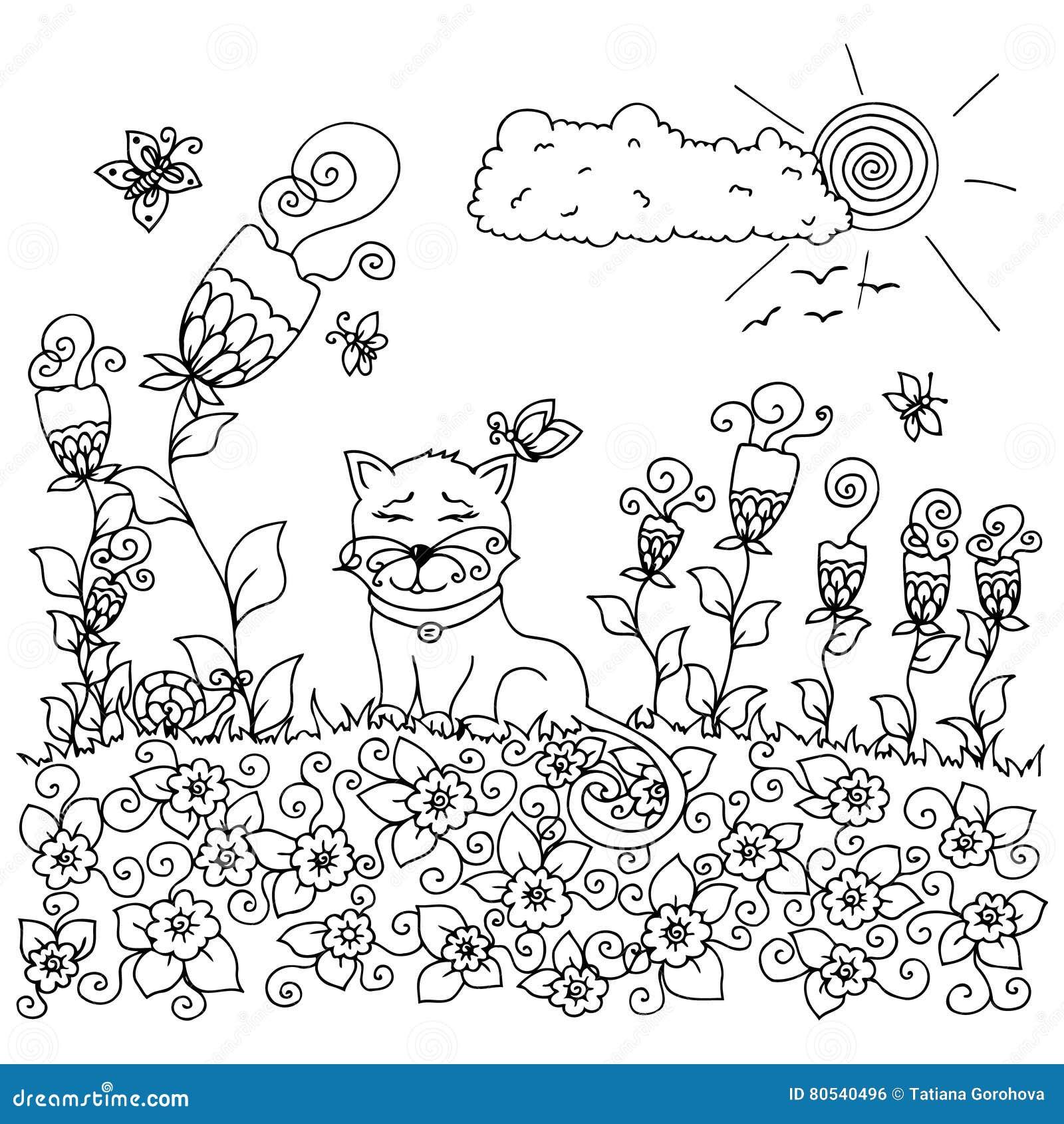 Vector Tangl Дзэн иллюстрации, кот сидя в цветках Чертеж ...