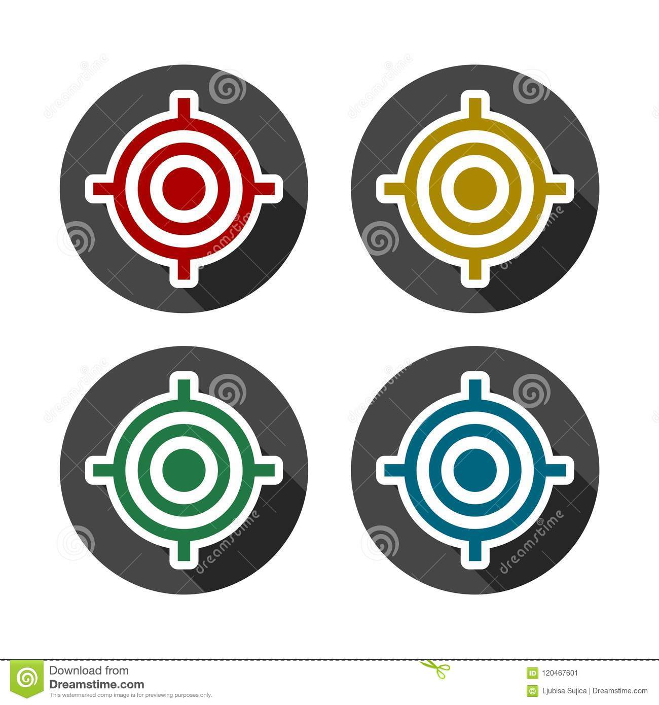 Vector Target Icons Set With Long Shadow Stock Illustration
