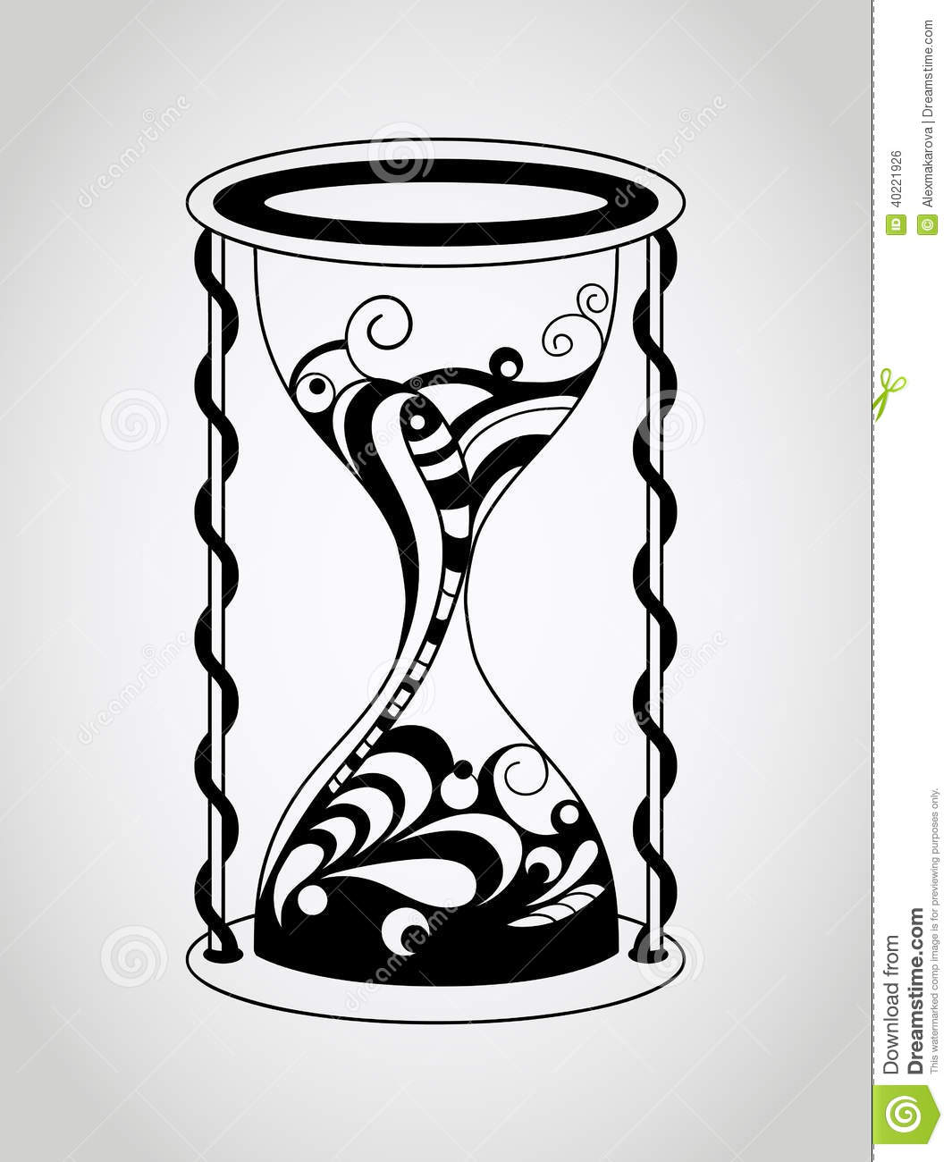 Vector Tattoo Hourglass Stock Vector - Image: 40221926
