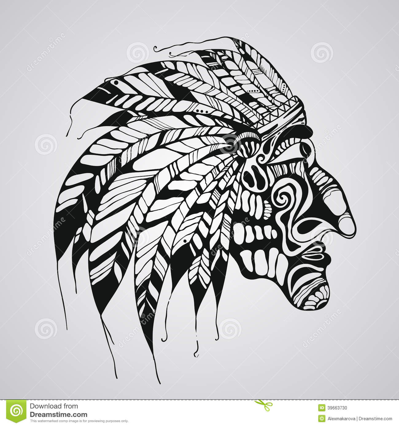 Vector Tattoo, Native American Indian Chief Stock Vector - Illustration of feather, graphic ...
