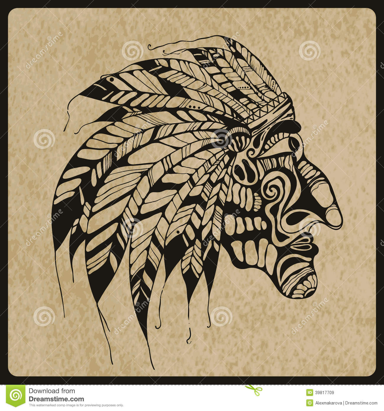 Vector Tattoo, Native American Indian Chief Stock Vector - Illustration of black, head: 39817709