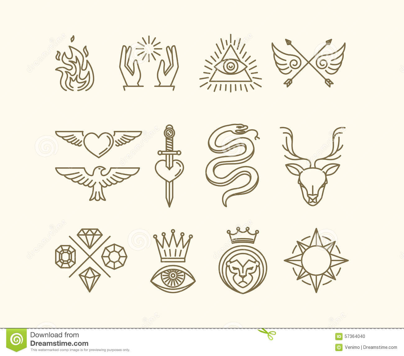 Line Art Icons : Vector tattoo set stock image