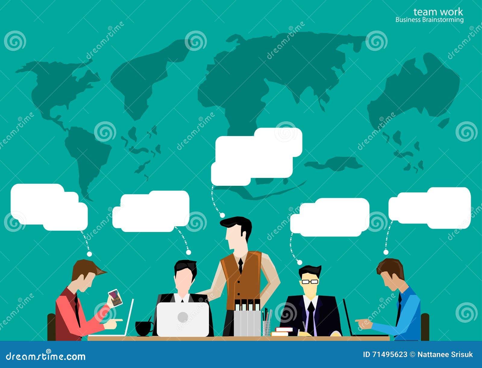 Vector Team Work Businessman Brainstorming To Think Globally