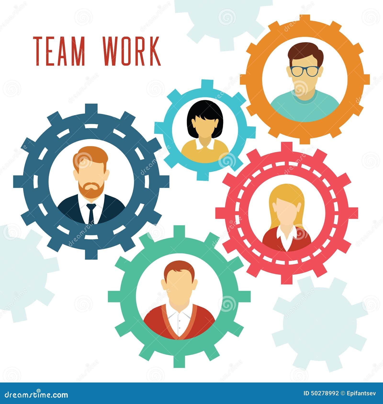 Vector Teamwork Gears Concept. Stock Vector - Image: 50278992