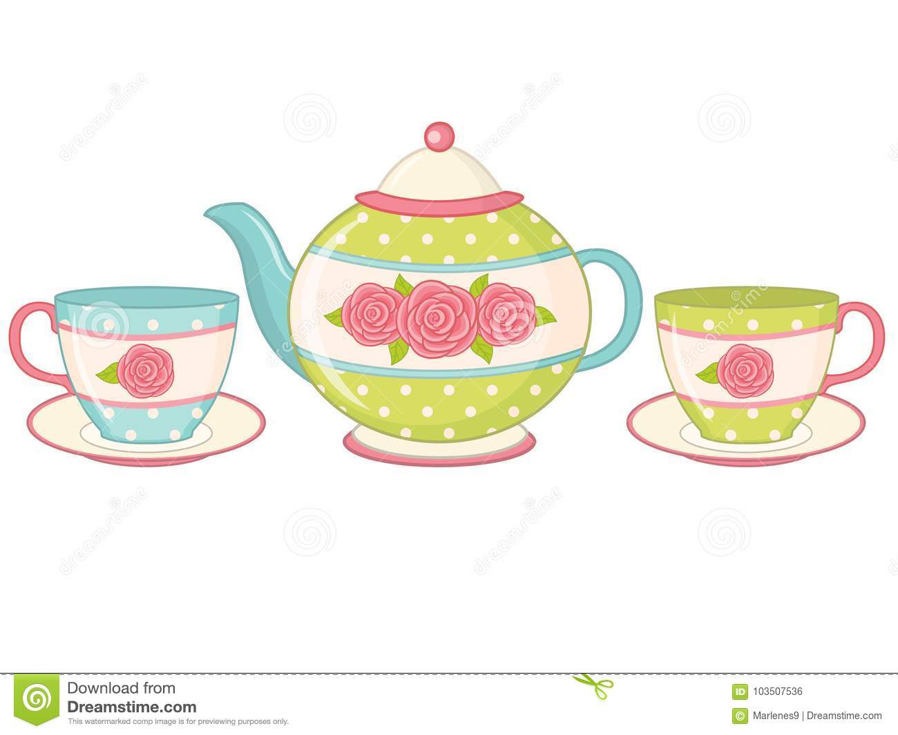 Vector Tea Pot With Tea Cups And Saucers Stock Vector