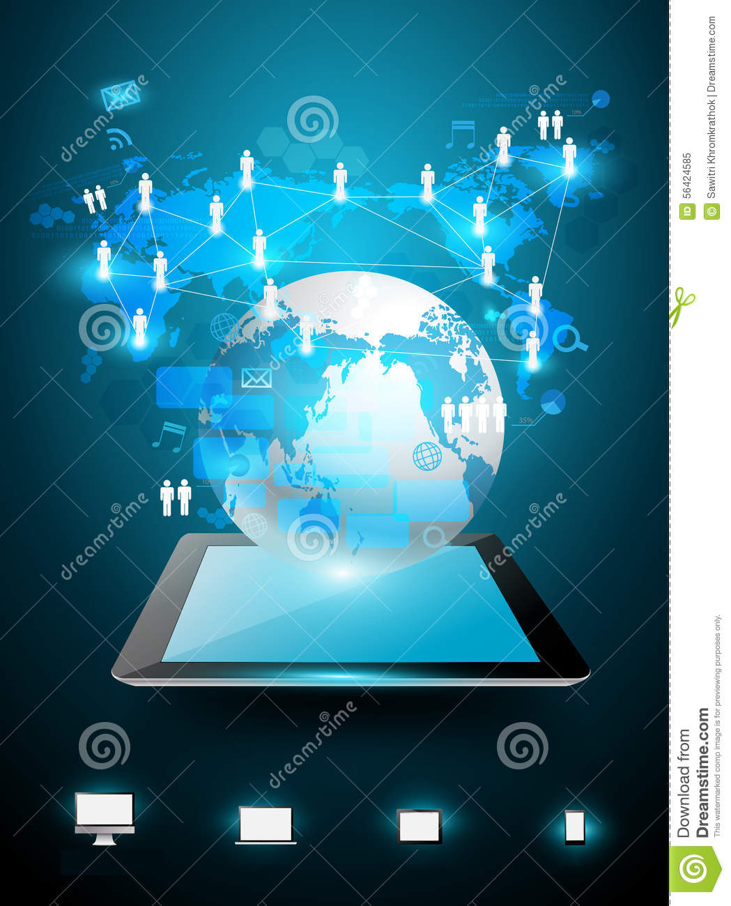 Business Technology: Vector Technology Business Ideas Concept Stock Vector