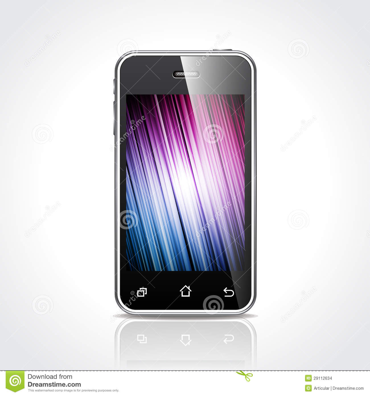 Vector technology styled illustration with shiny touchscreen mobile ...
