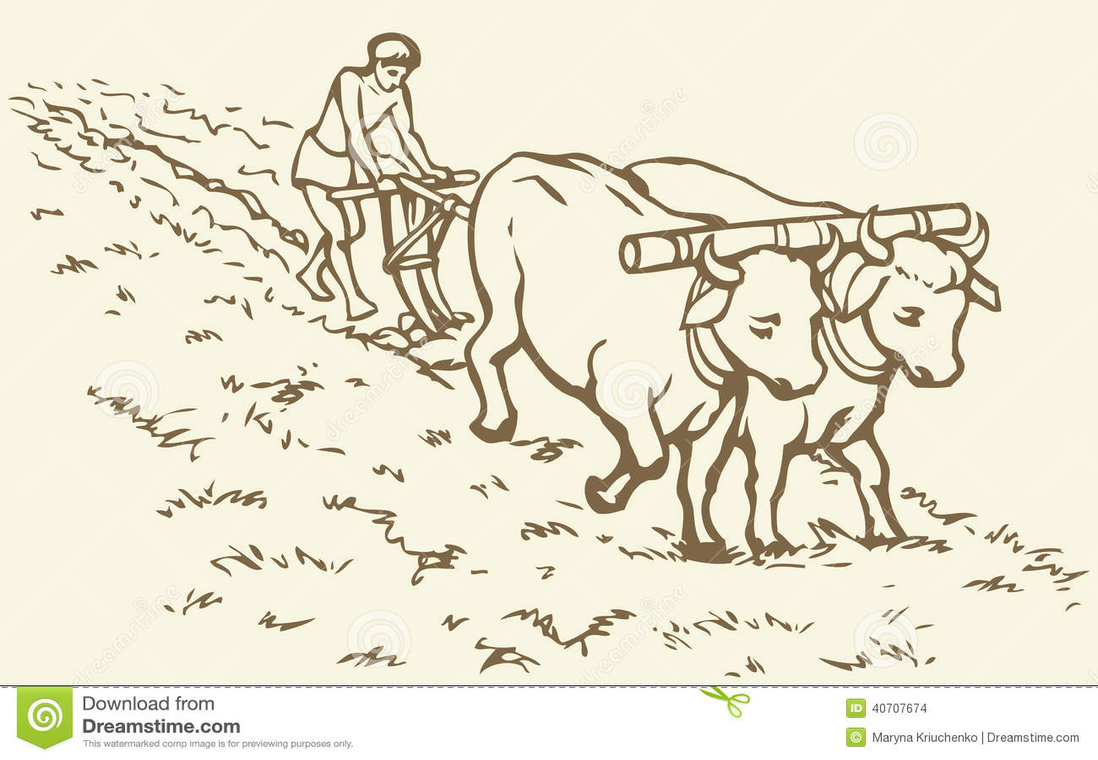 Vector tekening Primitieve landbouw Boer behandeld gebied