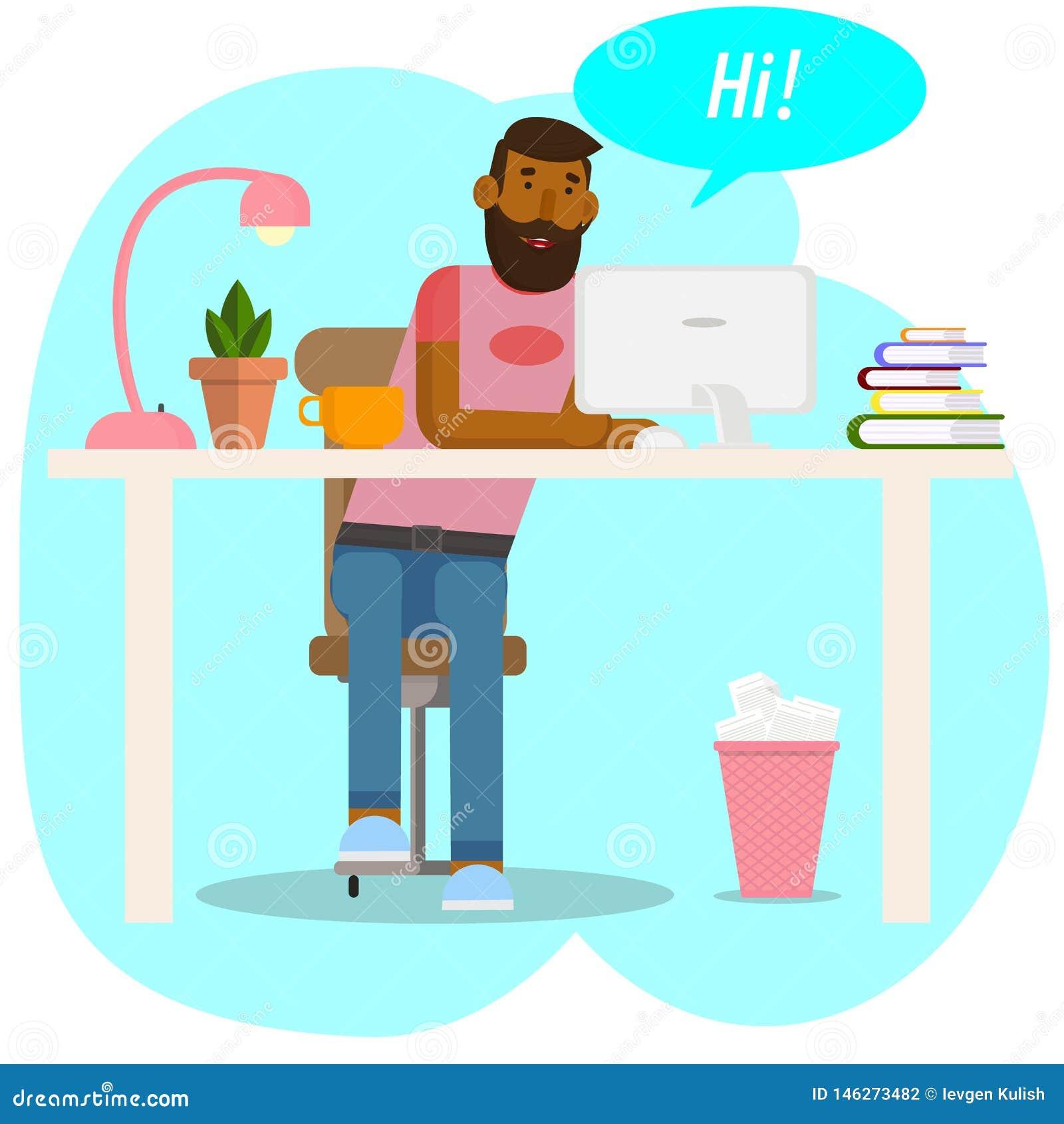 Vector tekening Werkruimteconcept De Hipsterwerken bij voor computer De jonge man communiceert in sociale netwerken Zakenman,