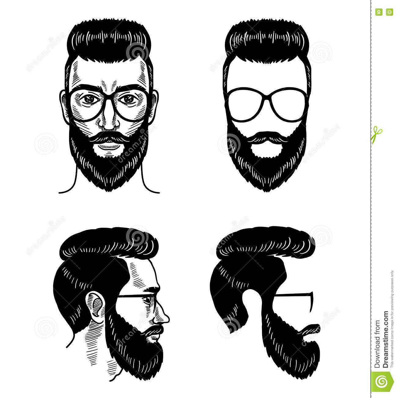 Vector Template For Barbershop Beard Glasses Face Mustache Haircut ...