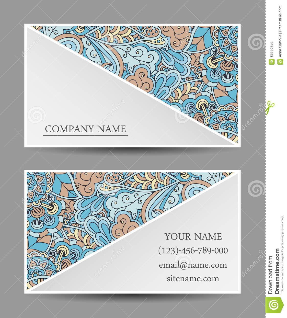 Vector template business card colorful doodle ornament stock download comp reheart Gallery