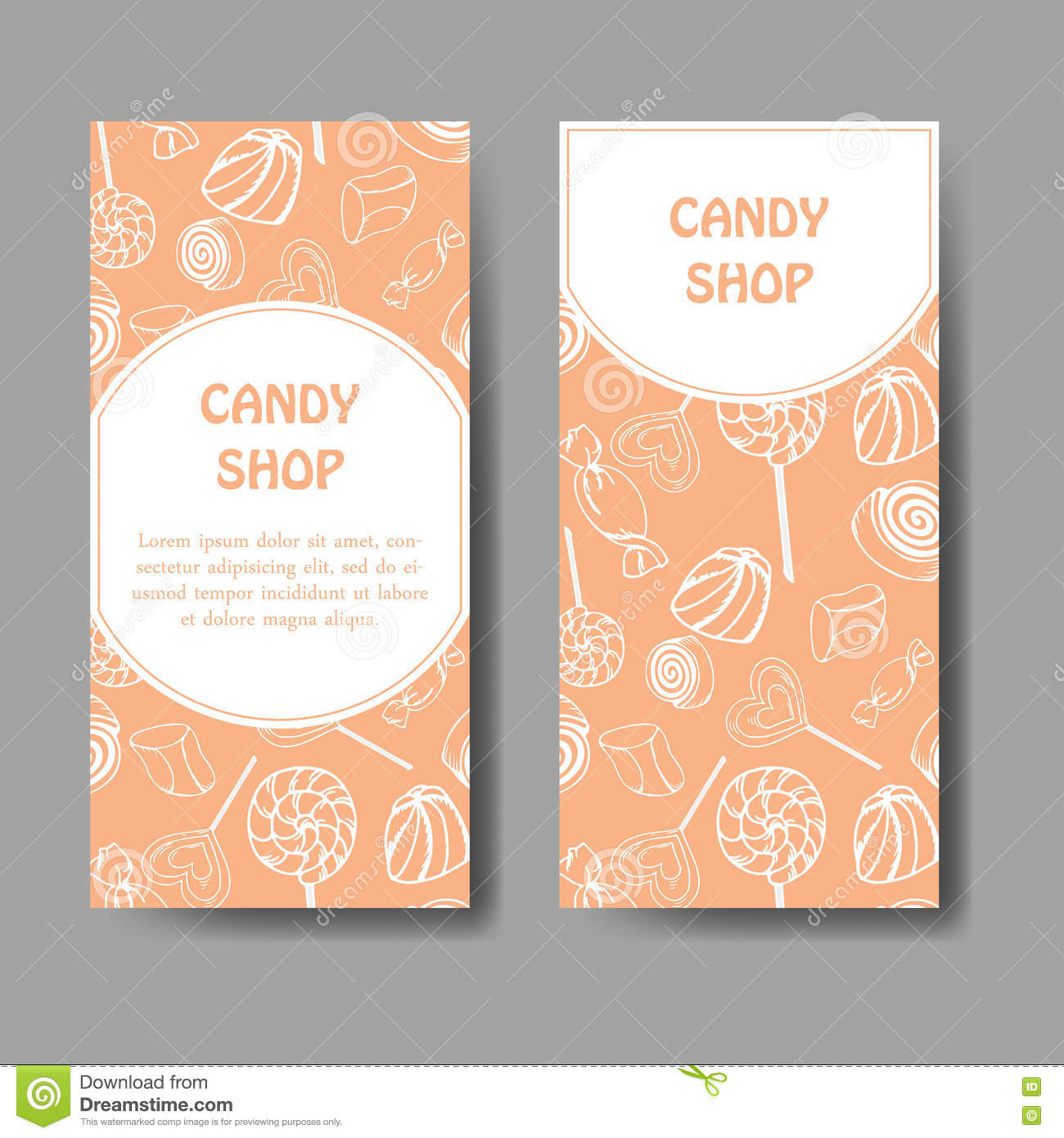 Vector Template For Business Card With Hand Drawn Candy Sweets Food