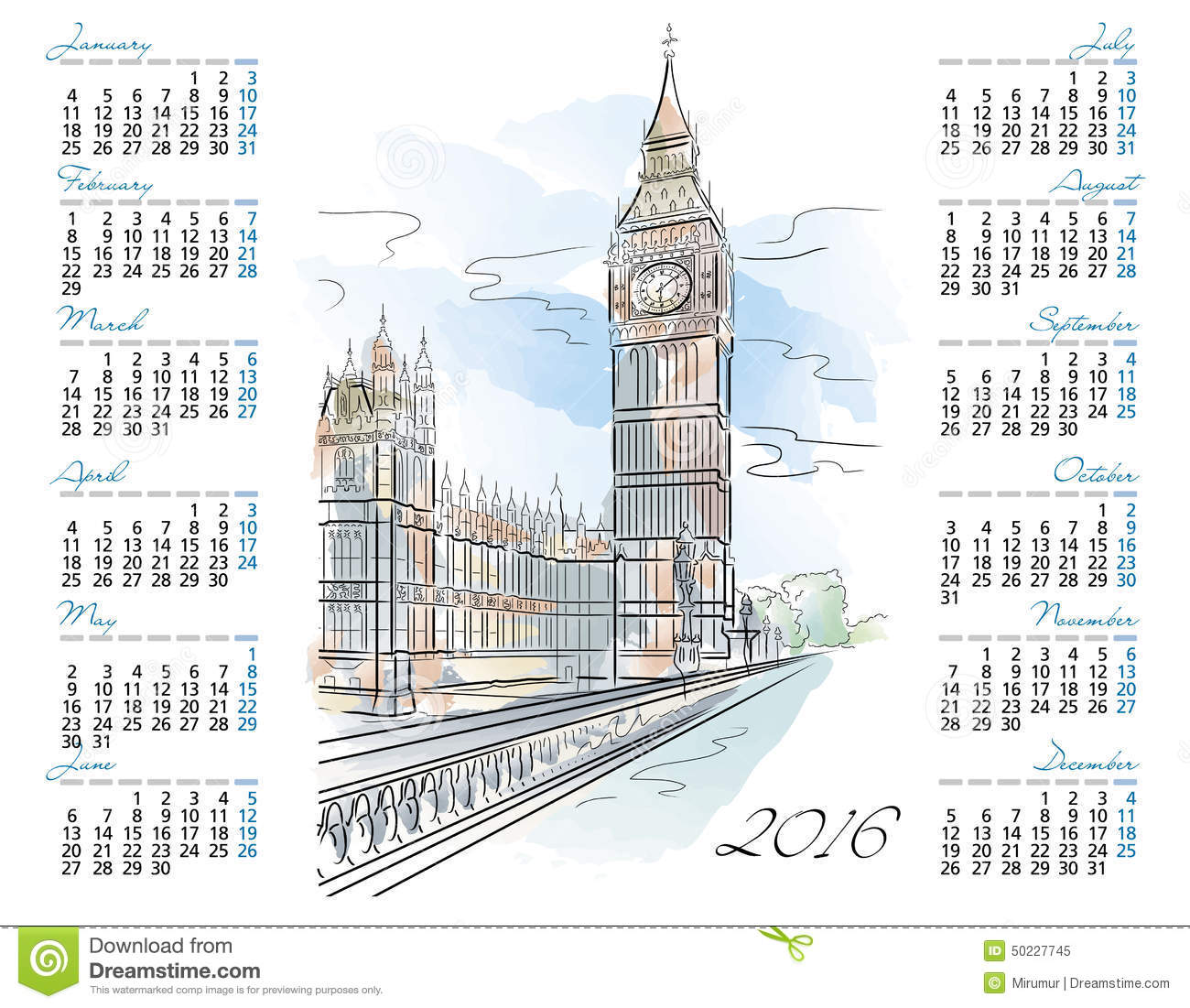 Calendar Illustration Vector : Vector template of calendar with big ben stock