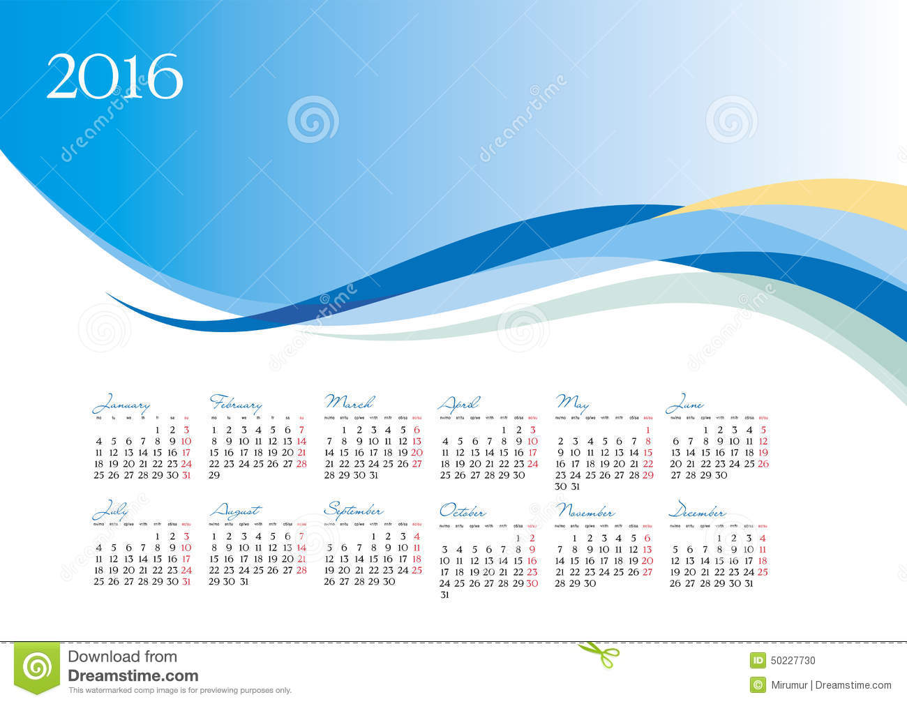 Vector Template Of 2016 Calendar On Blue Background Stock Vector ...