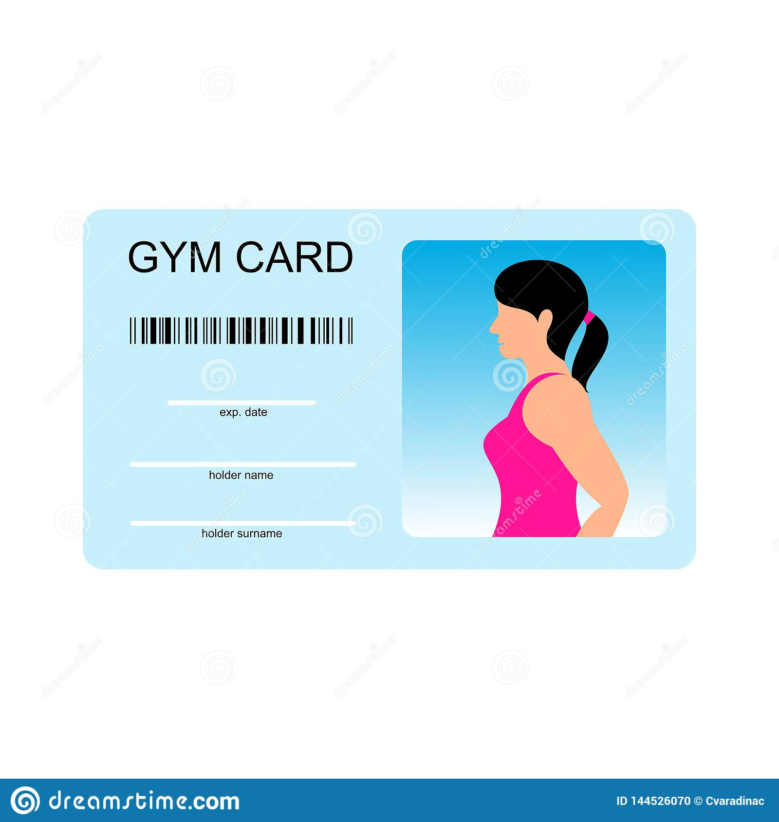 Vector template for card of gym. Identity document for fitness club with person photo and text.