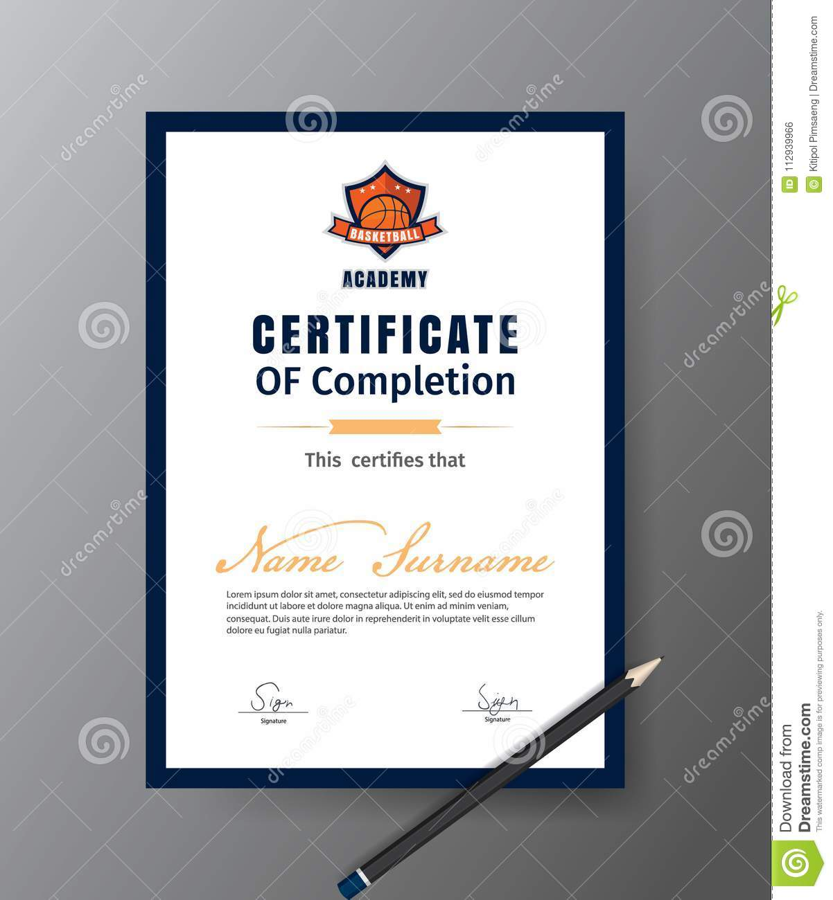 Vector Template For Certificate Of Basketball Training Course Stock