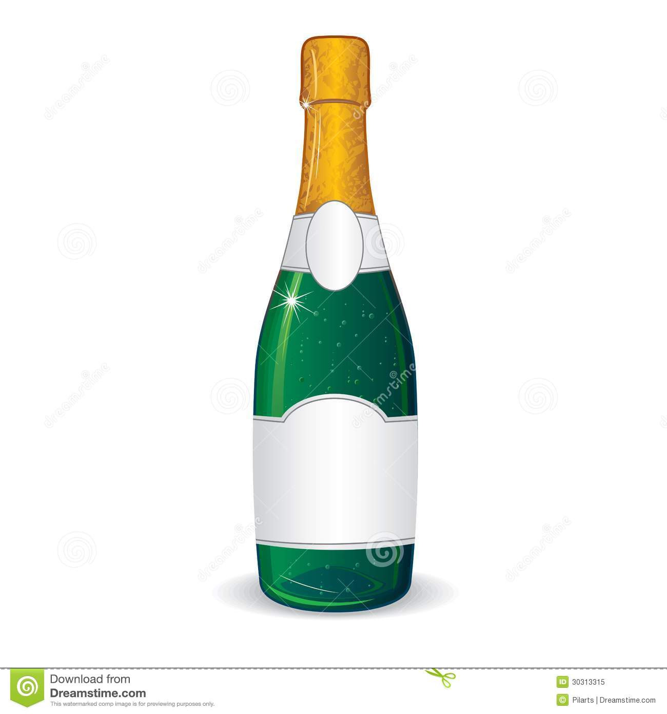 Champagne Bottle With Blank Label For Your Text Royalty Free Stock ...
