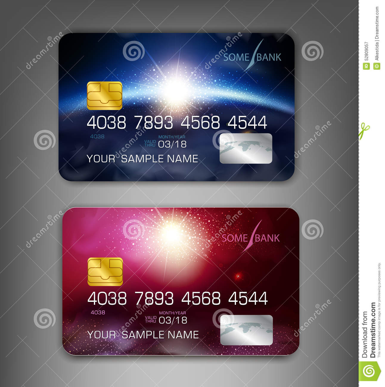 Vector Template Credit Cards With Modern Design (space