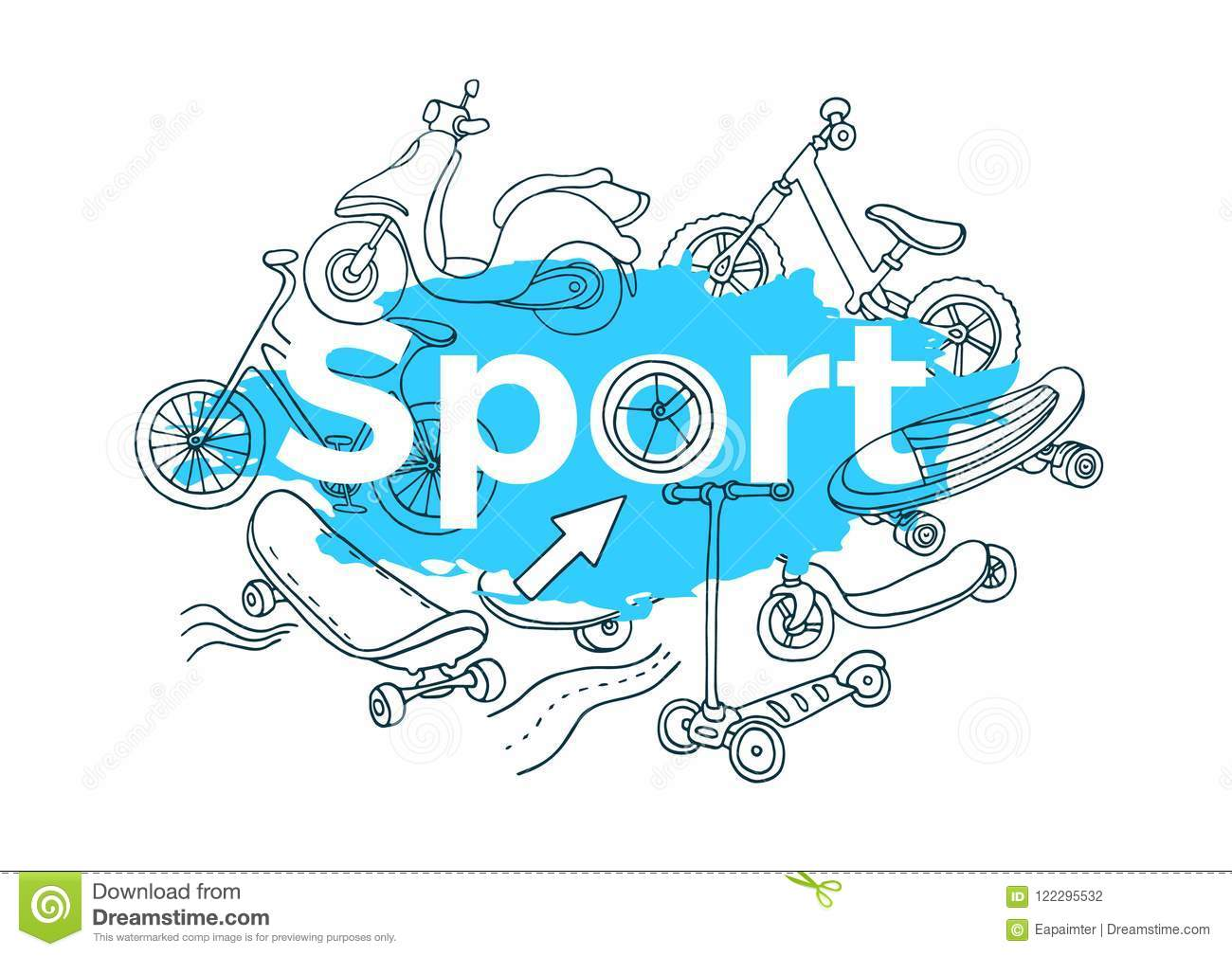 Vector template doodle sports art sketch stock vector vector template doodle sports art sketch maxwellsz