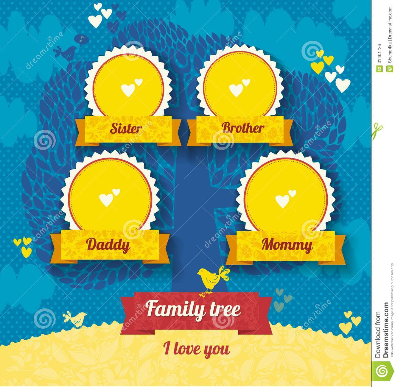 Vector template for family tree stock illustration for Family picture design