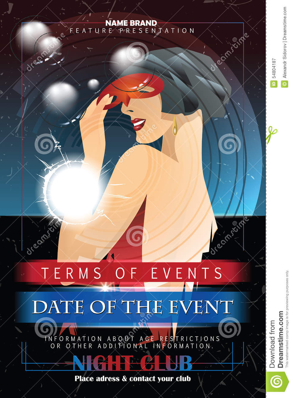 vector template flyer advertising a nightclub shows parties stock