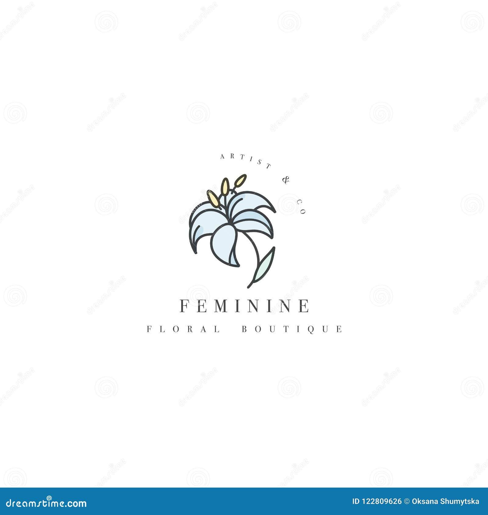 vector template logo or emblem floral boutique lily flower logo