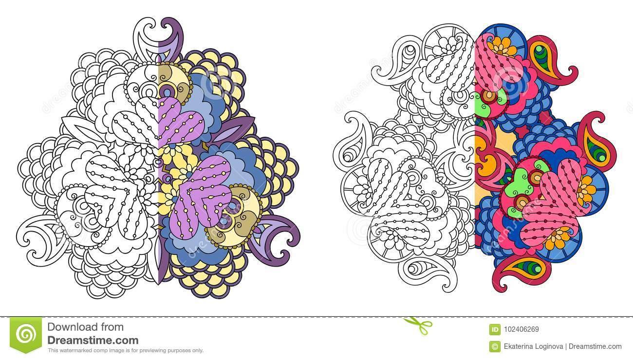Set of four decorative monochrome and color mandalas stock vector vector template mandalas for decorating greeting cards coloring books art therapy anti stress print for t shirt and textile m4hsunfo
