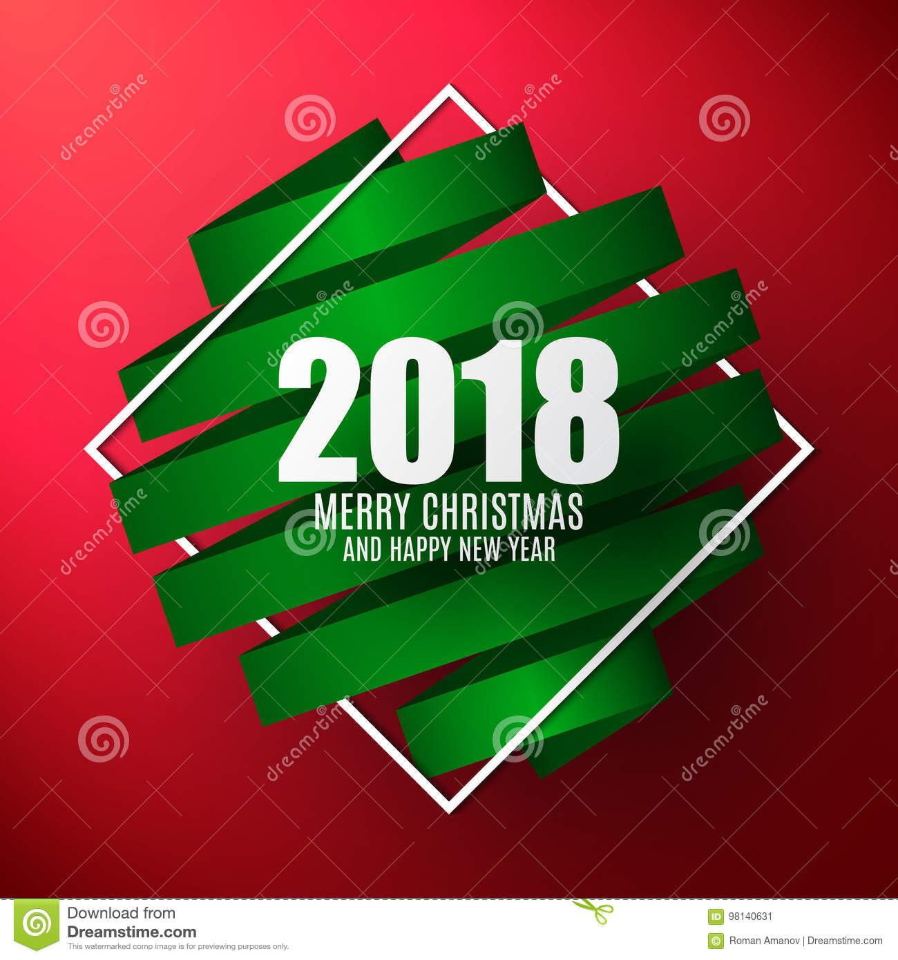 2018 vector template merry christmas and happy new year background